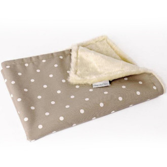 Charley Chau Faux Fur Fleece Dotty Taupe Dog Blanket