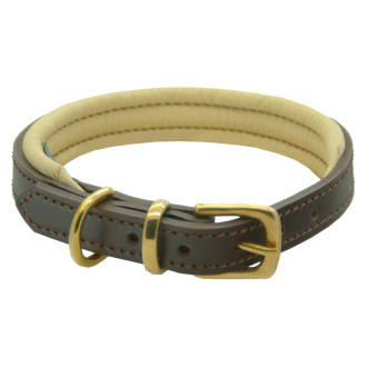 Dogs & Horses Classic Colours Leather Dog Collar Brown & Cream