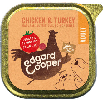 EdgardCooper Chicken & Turkey with Tomato & Cranberry Wet Adult Dog Food