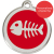 Red Dingo Cat ID Tag Stainless Steel & Enamel Fish Bones