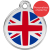 Red Dingo Dog ID Tag Stainless Steel & Enamel Union Jack
