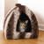Rosewood Grey & Cream Plush Pyramid Cat Bed