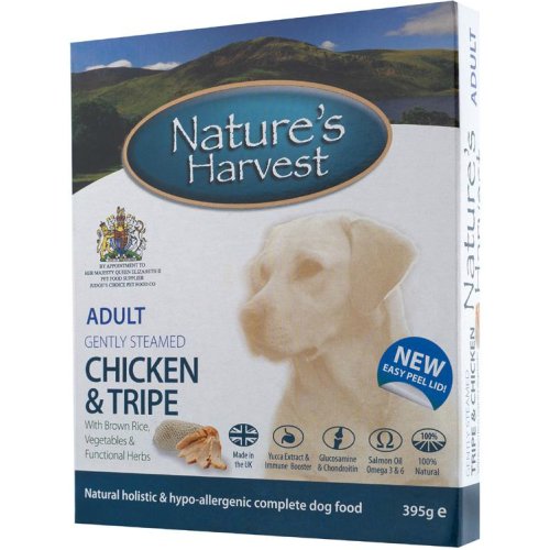 Natures Harvest Chicken & Tripe with Brown Rice Adult Dog Food 395g x 10