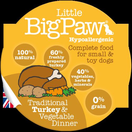 Little Big Paw Traditional Turkey & Veg Dinner Dog Food 85g x 8