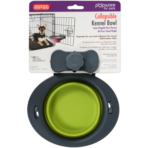Dexas Popware Collapsible Kennel Bowl for Dogs Green Small