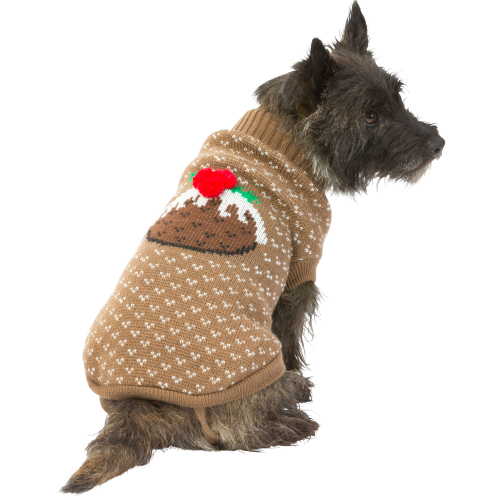 House of Paws Christmas Pudding Dog Jumper in Brown