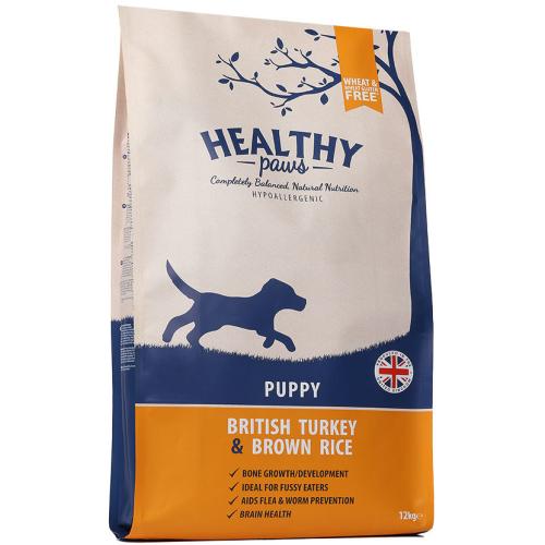 Healthy Paws Puppy British Turkey & Brown Rice Dog Food 12kg