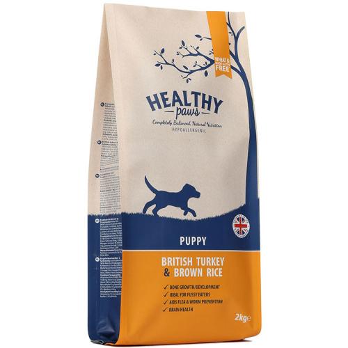 Healthy Paws Puppy British Turkey & Brown Rice Dog Food 12kg x 2