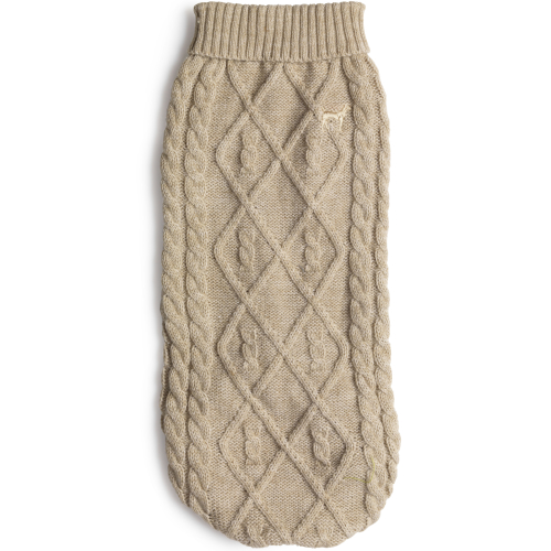 House of Paws Cable Knit Dog Jumper Oatmeal