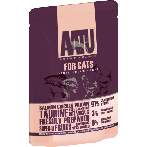 AATU For Cats Salmon, Chicken & Prawn Wet Pouches 85g x 32