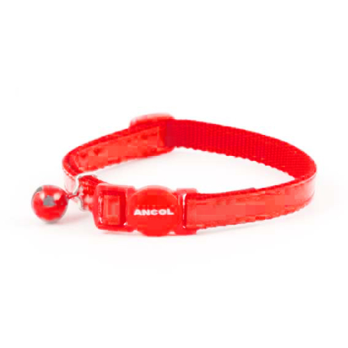 Ancol Gloss Reflective Red Cat Collar 3 Collar SAVER PACK