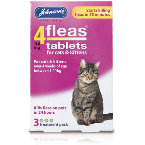 Johnsons 4 Fleas Cats & Kittens Tablets 3 Treatment Pack