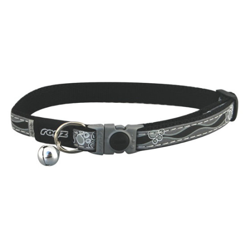 Rogz NightCat Black Reflective Cat Collar Black