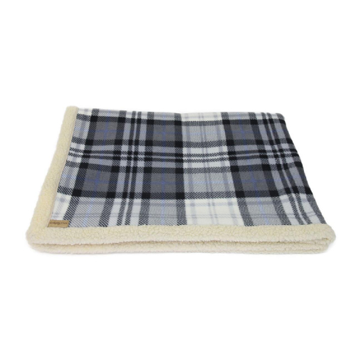 Earthbound Sherpa Grey Check Dog Blanket