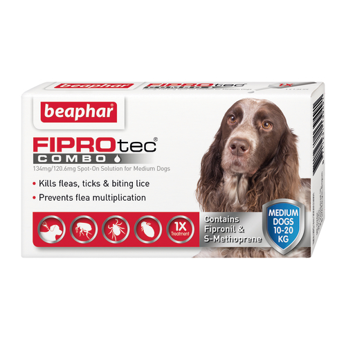 Beaphar FIPROtec Combo Spot On For Dogs Medium Dog 3 Pipettes