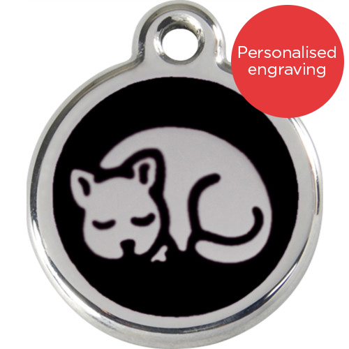 Red Dingo Cat ID Tag Stainless Steel & Enamel Kitten Black