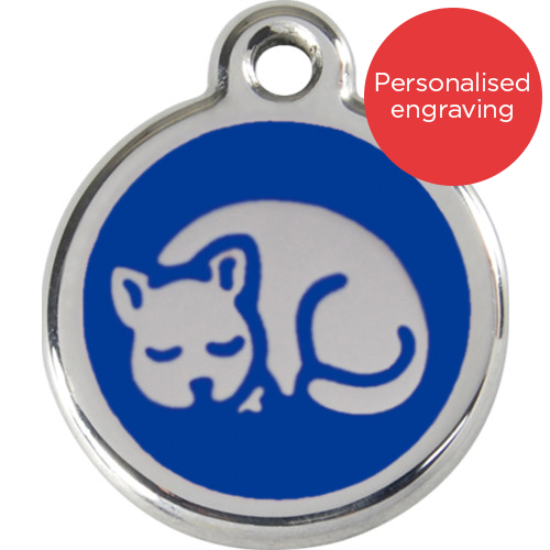 Red Dingo Cat ID Tag Stainless Steel & Enamel Kitten Dark Blue