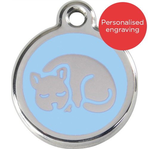 Red Dingo Cat ID Tag Stainless Steel & Enamel Kitten Light Blue