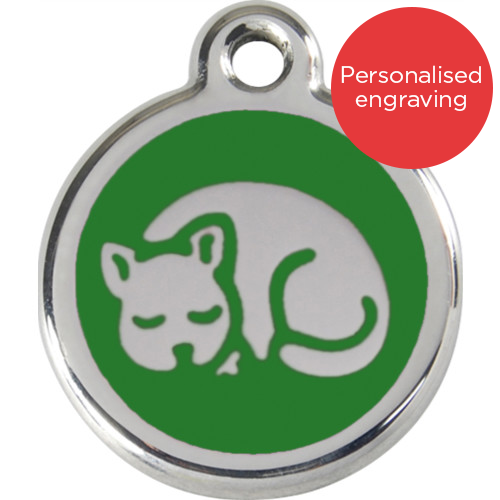 Red Dingo Cat ID Tag Stainless Steel & Enamel Kitten Green