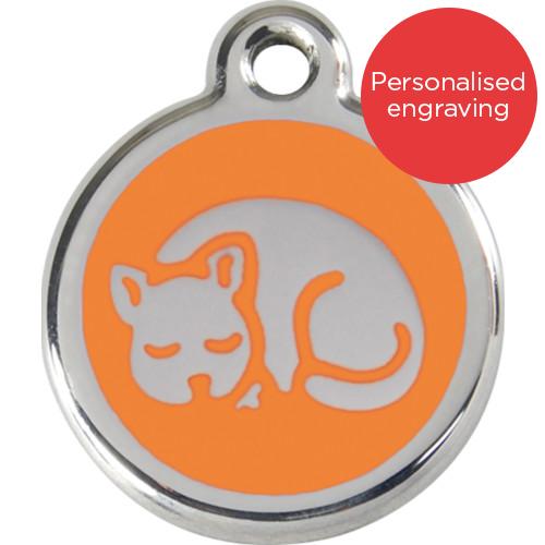 Red Dingo Cat ID Tag Stainless Steel & Enamel Kitten Orange