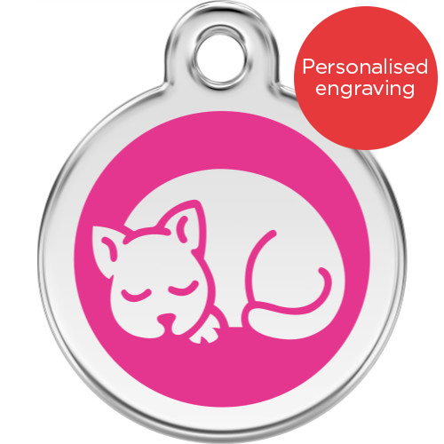 Red Dingo Cat ID Tag Stainless Steel & Enamel Kitten Pink