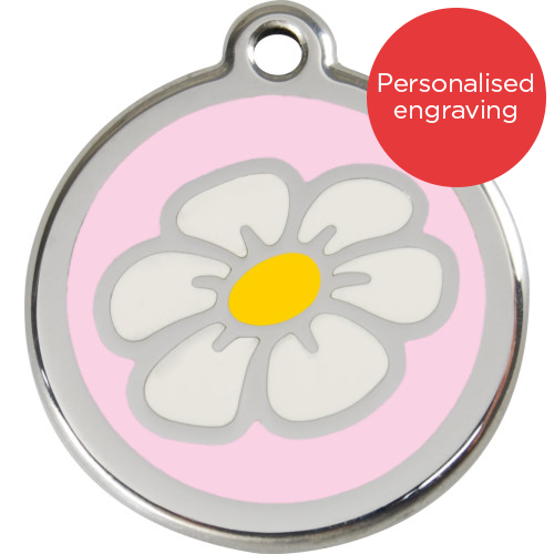 Red Dingo Cat ID Tag Stainless Steel & Enamel Daisy