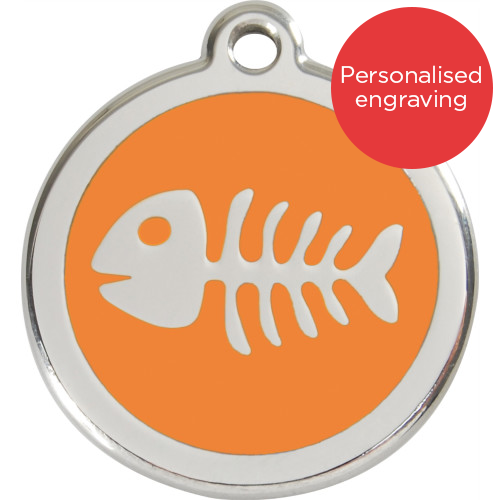 Red Dingo Cat ID Tag Stainless Steel & Enamel Fish Bones Orange