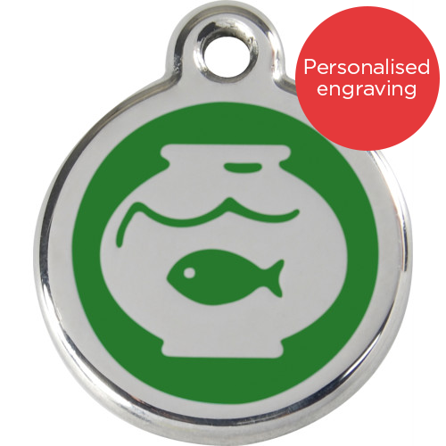 Red Dingo Cat ID Tag Stainless Steel & Enamel Fish Bowl Green