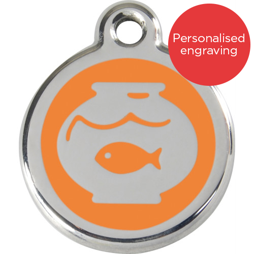 Red Dingo Cat ID Tag Stainless Steel & Enamel Fish Bowl Orange