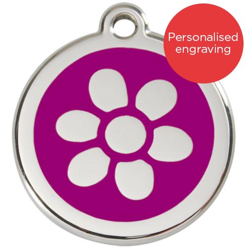 Red Dingo Dog ID Tag Stainless Steel & Enamel Flower Purple