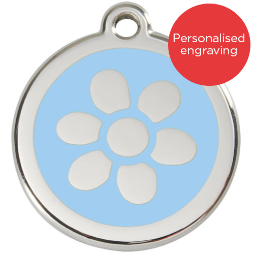Red Dingo Dog ID Tag Stainless Steel & Enamel Flower Light Blue
