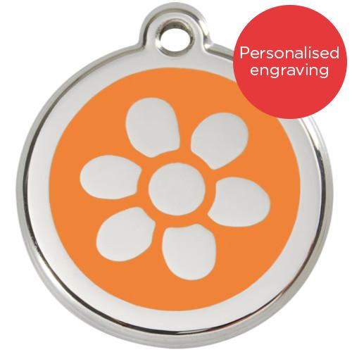 Red Dingo Dog ID Tag Stainless Steel & Enamel Flower Orange