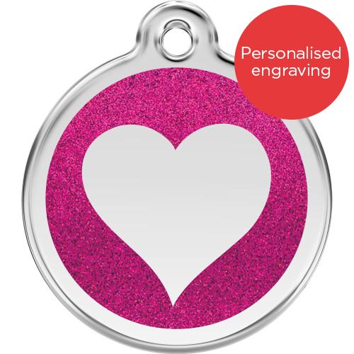 Red Dingo Dog ID Tag Glitter Enamel Heart Hot Pink