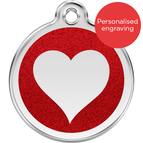 Red Dingo Dog ID Tag Glitter Enamel Heart