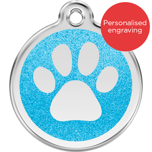 Red Dingo Dog ID Tag Glitter Enamel Pawprint