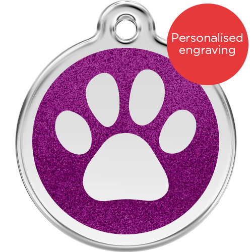 Red Dingo Dog ID Tag Glitter Enamel Pawprint Purple