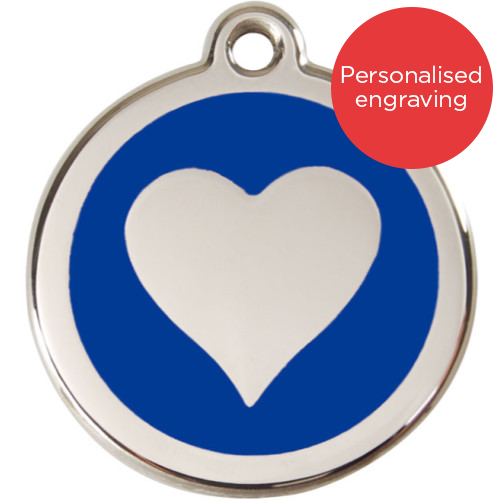 Red Dingo Cat ID Tag Stainless Steel & Enamel Heart Dark Blue