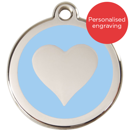 Red Dingo Cat ID Tag Stainless Steel & Enamel Heart Light Blue