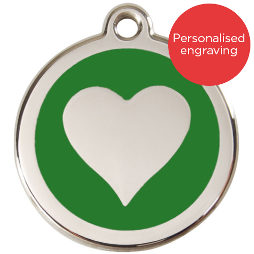 Red Dingo Cat ID Tag Stainless Steel & Enamel Heart Green