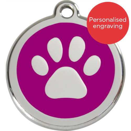 Red Dingo Cat ID Tag Stainless Steel & Enamel Paw Print Purple