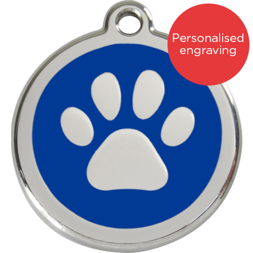 Red Dingo Cat ID Tag Stainless Steel & Enamel Paw Print Dark Blue