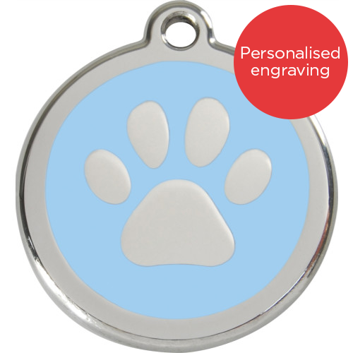 Red Dingo Cat ID Tag Stainless Steel & Enamel Paw Print Light Blue