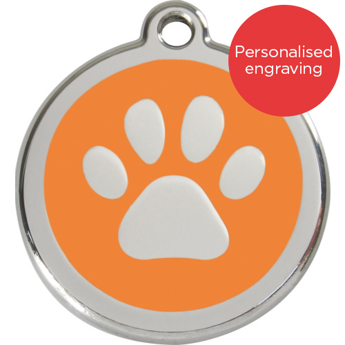 Red Dingo Dog ID Tag Stainless Steel & Enamel Paw Print Orange