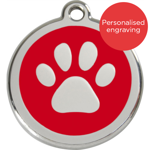 Red Dingo Cat ID Tag Stainless Steel & Enamel Paw Print Red