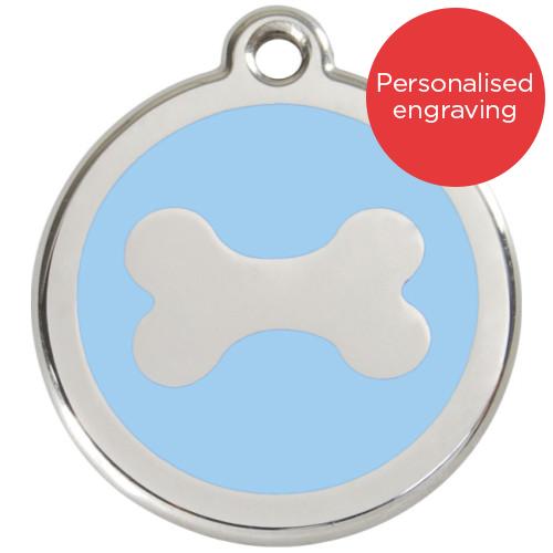 Red Dingo Dog ID Tag Stainless Steel & Enamel Bone Light Blue
