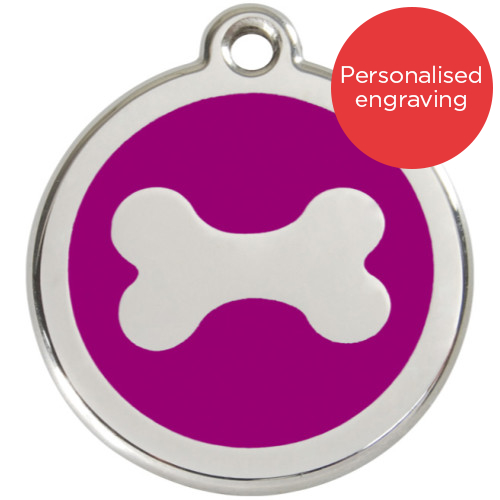 Red Dingo Dog ID Tag Stainless Steel & Enamel Bone