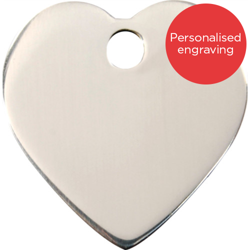 Red Dingo Cat ID Tag Stainless Steel Heart
