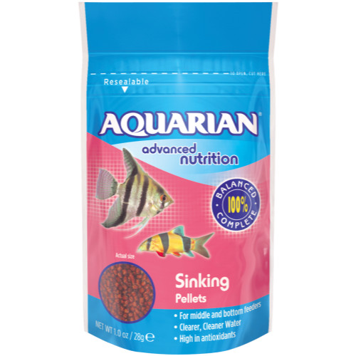 aquarian sinking pellet tropical fish food from