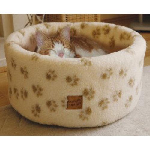 Danish Design Cream Paw Print Cat Bed