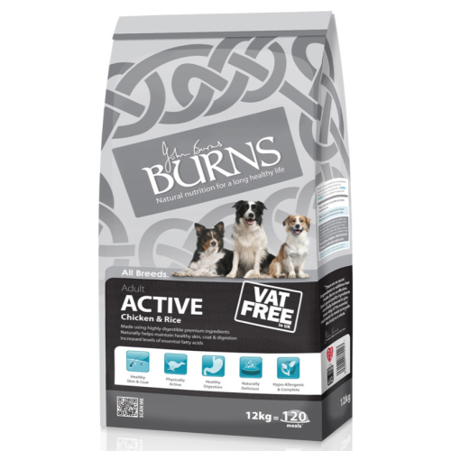 Burns Active Chicken & Rice Adult Dog Food 12kg